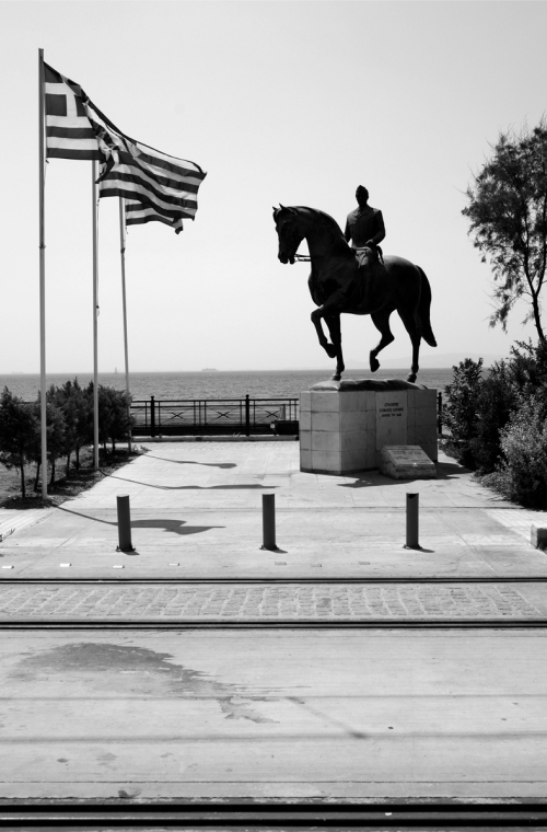 .1-Plastiras-Horse-Statue-Flags-WB-BW-DS